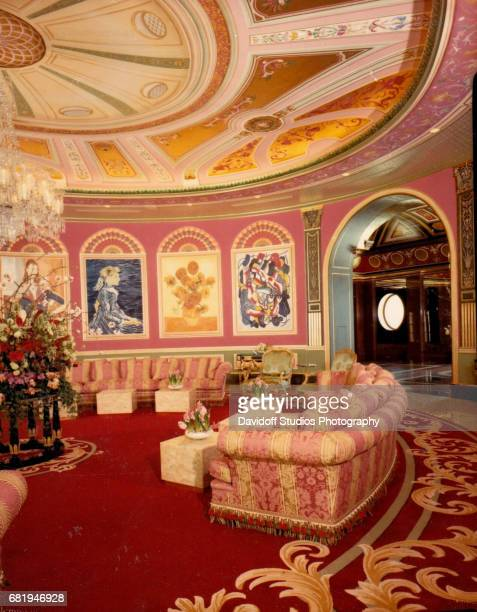 Interior view of an ornately decorated room in Maison de l'Amitie mansion Palm Beach Florida January 30 1990 The mansion was demolished in 2016