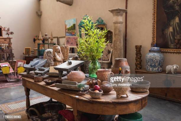 interior view of antique store in mexico - antique shop stock pictures, royalty-free photos & images