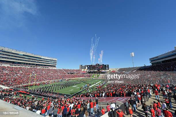 Interior view of AT&T Jones Stadium during pre game ceremonies on October 12, 2013 at AT&T Jones Stadium in Lubbock, Texas. Tech