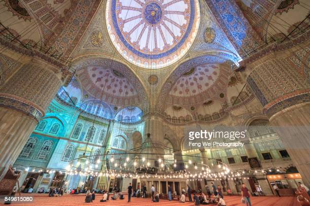 interior view of blue mosque, istanbul, turkey - istanbul stock pictures, royalty-free photos & images