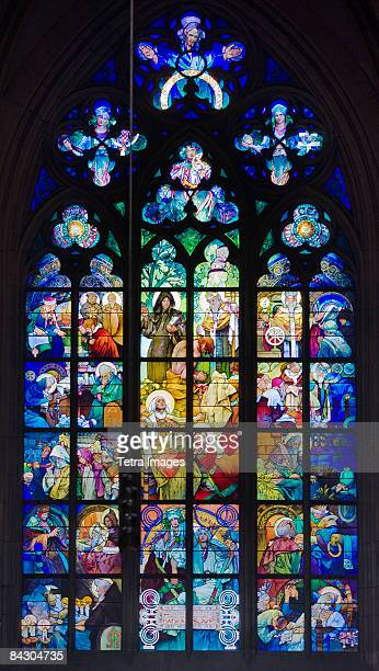 interior view of cathedral window - alphonse mucha stock pictures, royalty-free photos & images