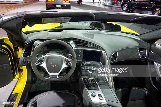 Interior view of Chevrolet Corvette Z06 is seen during Auto show at the LA Convention center in Los angeles USA on November 18 2015