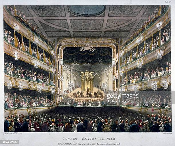 Interior view of Covent Garden Theatre Bow Street Westminster London 1808 Looking towards the stage during a performance