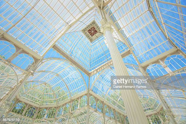 interior view of crystal palace in retiro park, madrid. spain - palace stock pictures, royalty-free photos & images