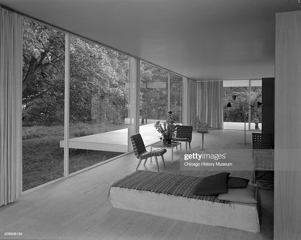 Interior View Of Farnsworth House, Showing Living Space With Furniture And  A Dog Looking Into