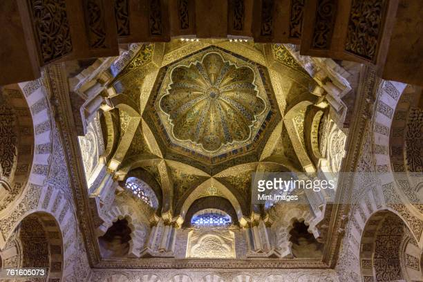Interior view of Great Mosque of Cordoba and the Mezquita, Cathedral of Our Lady of the Assumption, Cordoba, Spain.