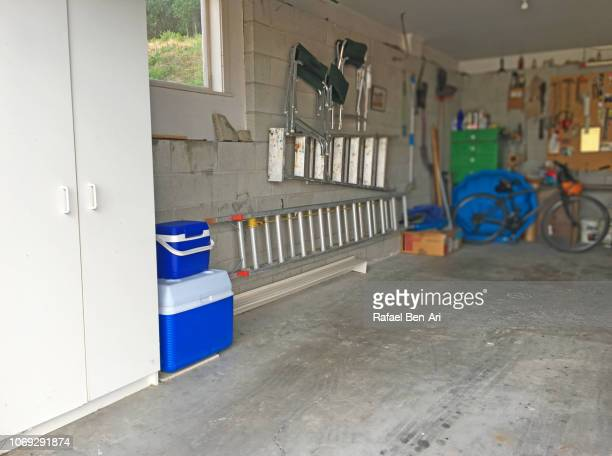 interior view of home garage - rafael ben ari stockfoto's en -beelden