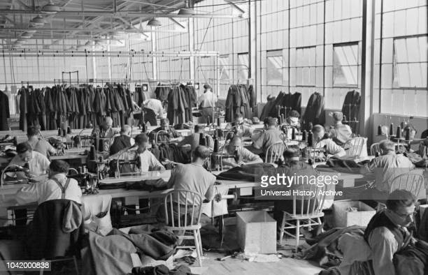 Interior View of Homesteaders Working at Cooperative Garment Factory at Jersey Homesteads, Hightstown, New Jersey, USA, Russell Lee, US Resettlement...