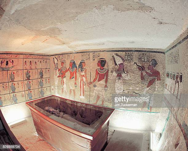Interior View of King Tutankhamun's Tomb and Wall Paintings in Tomb of Tutankhamun