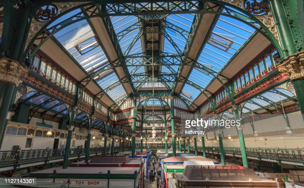 interior view of kirkgate market in leeds city centre - leeds city centre stock photos and pictures