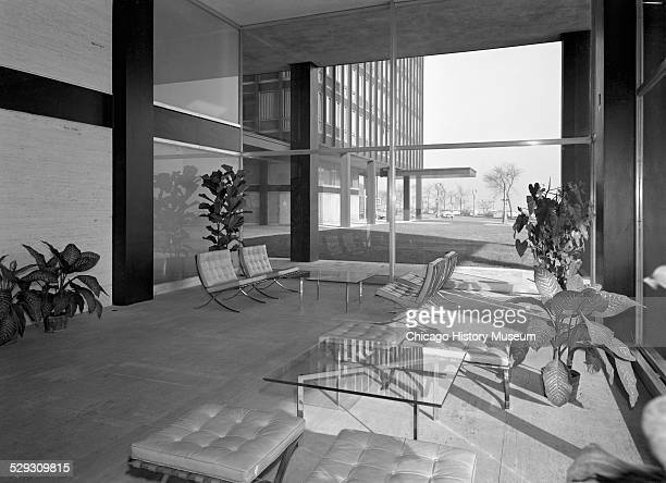 Interior view of lobby in the apartment building at 860-880 North Lake Shore Drive, Chicago, Illinois, circa 1950-1969. The building was designed by...