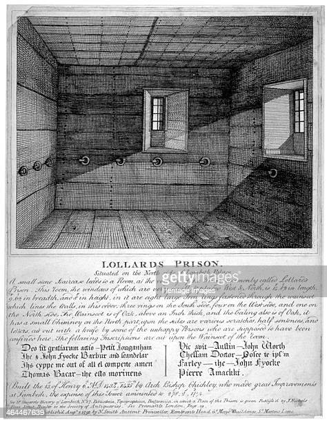 Interior view of Lollards Prison in Lambeth Palace London 1791 According to legend this was where the Lollards were imprisoned With a descriptive...