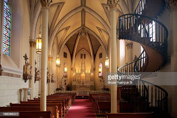 interior view of loretto chapel - chapel stock pictures, royalty-free photos & images