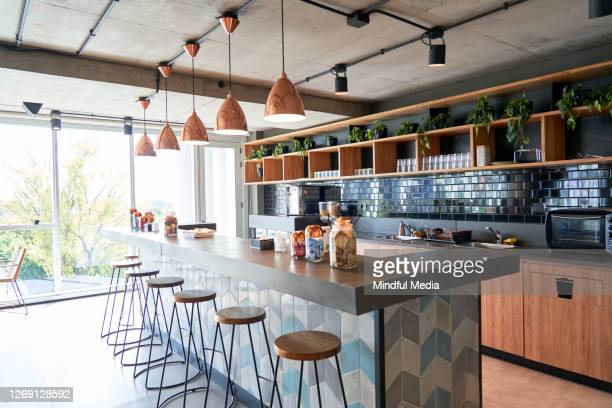 interior view of modern office canteen - geographical locations stock pictures, royalty-free photos & images