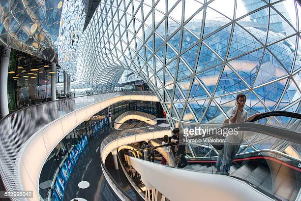 Interior view of MyZeil, a shopping mall designed by Roman architect Massimiliano Fuksas, in Zeil, main shopping district in Frankfurt, Germany, 01...