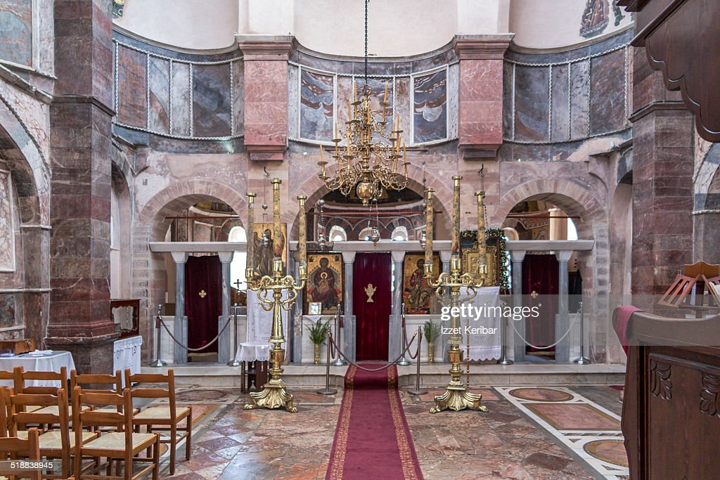 Interior View Of Nea Moni Monastery Chios Island Stock