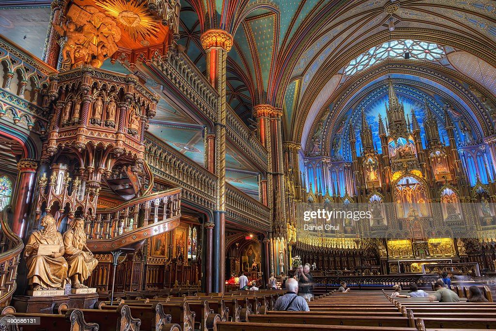 Interior view of Notre-Dame Basilica in Montreal : Stock Photo