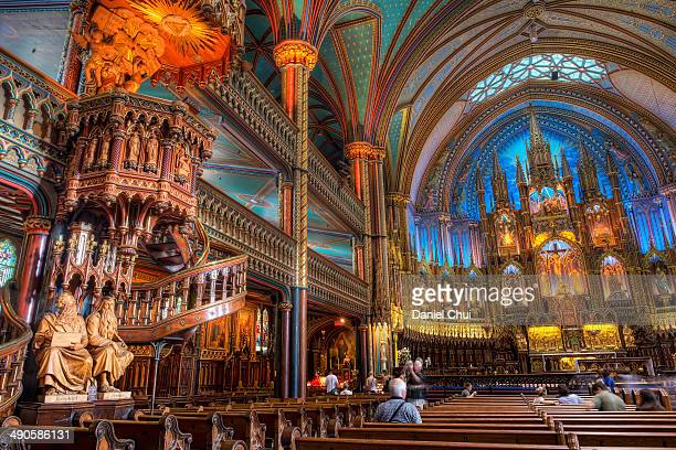 Interior view of Notre-Dame Basilica in Montreal