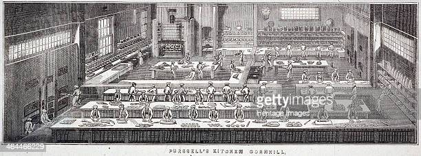 Interior view of Purssell's Kitchen no 80 Cornhill London 1840 showing preparation and cooking of food including biscuits and confectionery