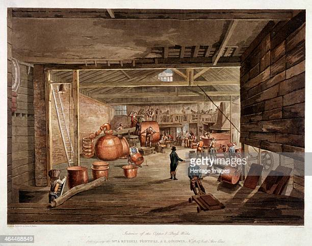 Interior view of Russell Pontifex and Goldwin's copper and brass works at nos 4648 Shoe Lane London showing the men at work