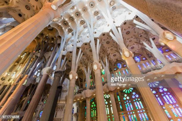 Interior view of Sagrada Familia on March 11 2018 in Barcelona Spain The basilica is a largely unfinished Roman Catholic church designed by Catalan...