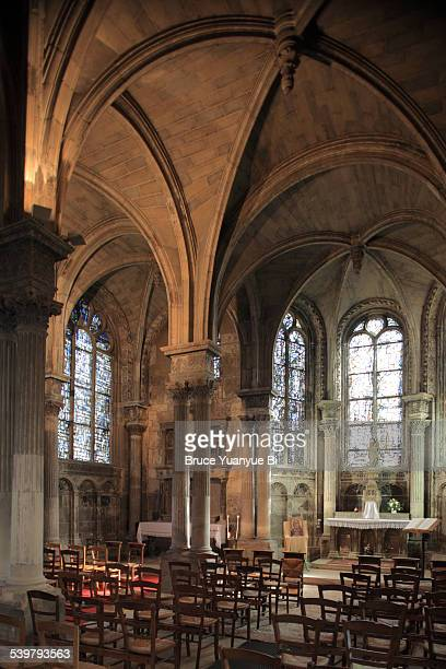interior view of saint-jacques church - apse stock photos and pictures