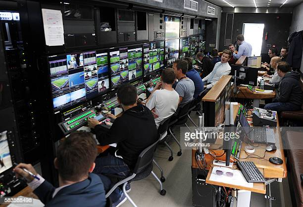 Interior view of Sky Sports broadcast and production trucks during the Sky Sports Super Sunday coverage of the Barclays Premier League Chelsea vs...