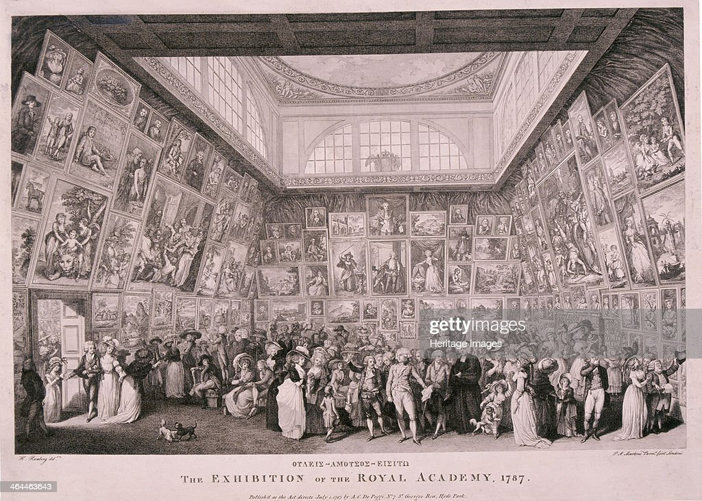 Interior View Of Somerset House Showing An Exhibition Of The Royal Academy  Of Arts In 1787