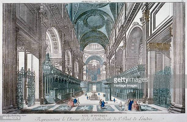 Interior view of St Paul's Cathedral showing the choir City of London 1755 The title above is reversed for use with a vue d'optique viewing box With...