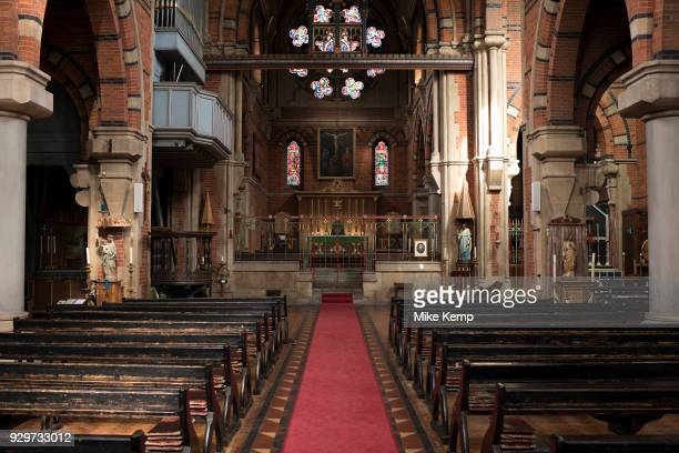 Interior view of St Peter's Church in Wapping, London, England, United Kingdom. St Peter's, Wapping, is a Grade I listed Anglican church in Wapping...