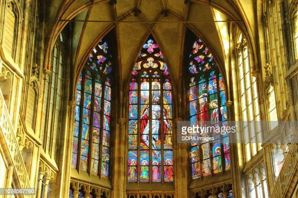 Interior view of St Vitus cathedral in the Prague Castle complex. The cathedral is a roman catholic metropolitan cathedral part of the Castle.