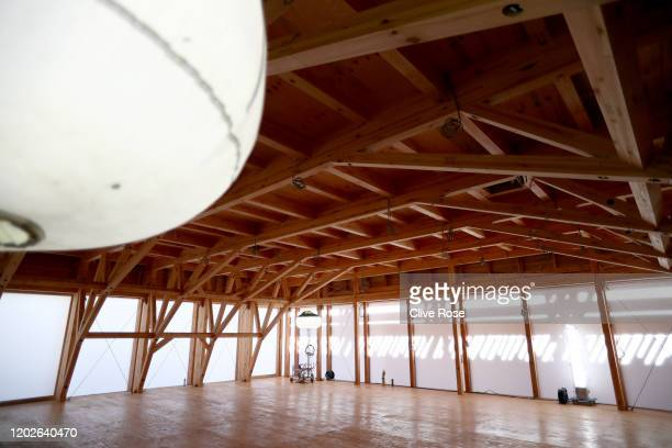 A interior view of the Athletes' Village Plaza as it opens to media on January 29 2020 in Tokyo Japan The Village Plaza was constructed using timber...