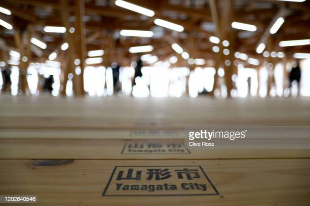 Interior view of the Athletes' Village Plaza as it opens to media on January 29, 2020 in Tokyo, Japan. The Village Plaza was constructed using timber...