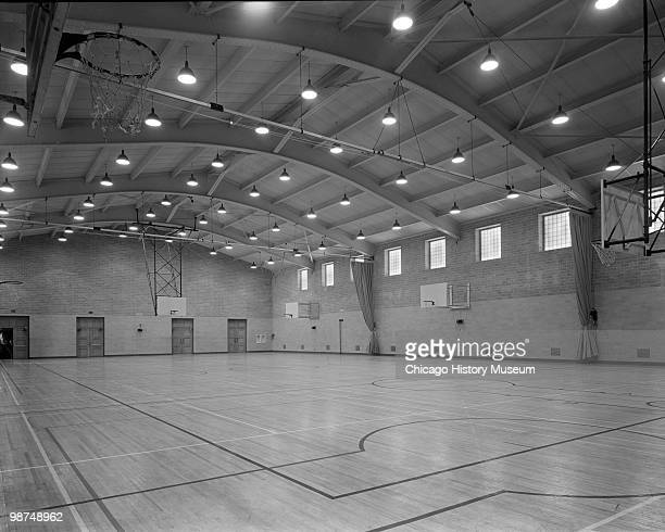 Interior view of the basketball court at Patten Gymnasium at Northwestern University, located at 2405 Sheridan Road in Evanston, IL, 1941.
