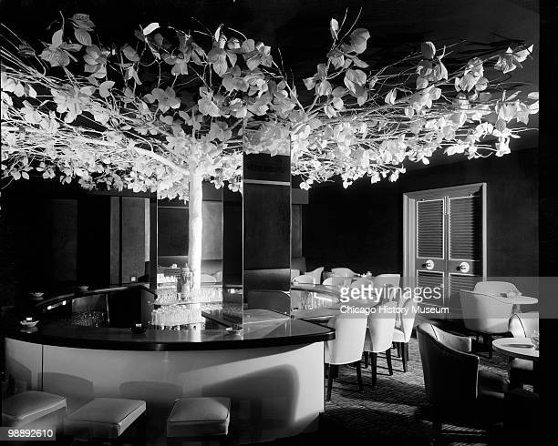 Interior view of the Blackstone Hotel, showing a round table with chairs and a tree in the middle with branches and leaves along the ceiling, Omaha,...