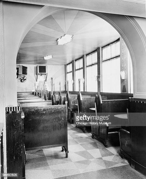 Interior view of the Blackstone Hotel showing booths in the dining room Omaha NE 1941 The hotel was located at 302 South 36th Street