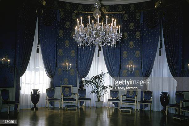 Interior view of the Blue Room at the White House Washington DC 1970s