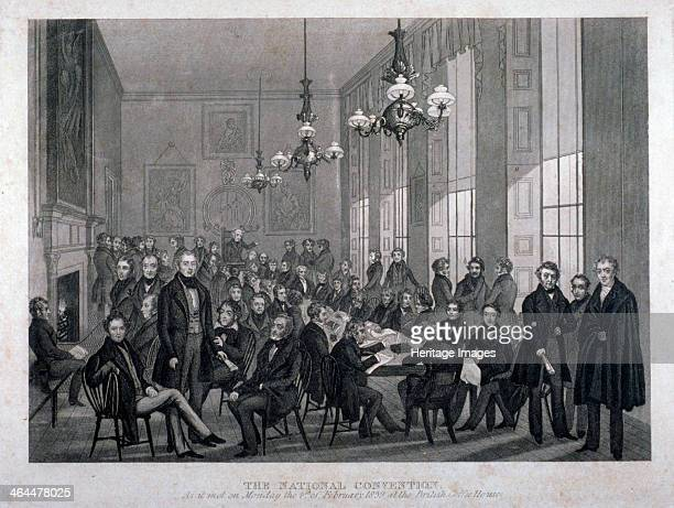 Interior view of the British Coffee House on Cockspur Street, Westminster, London, 1839. Showing the meeting of the National Convention on Monday the...