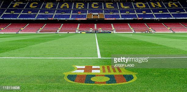 Interior view of the Camp Nou stadium after the Spanish league football match FC Barcelona vs Osasuna on April 23 2011 at the Camp Nou stadium in...