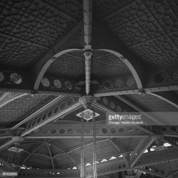 Interior view of the ceiling details in the Rookery Building lobby, at 209 South LaSalle Street, on the corner of La Salle and Adams streets in the...