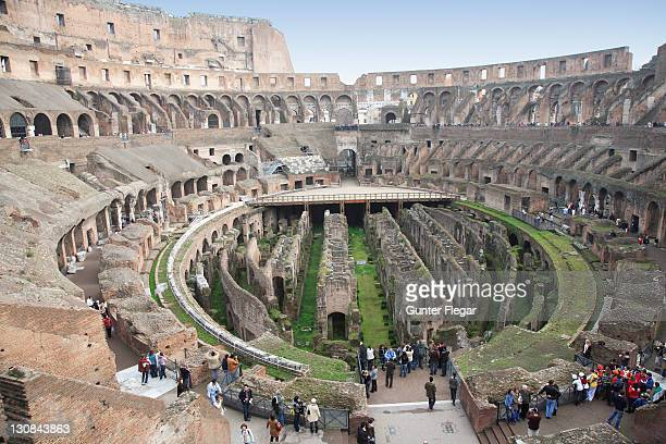 interior view of the colosseum, rom, italy - inside the roman colosseum stock photos and pictures