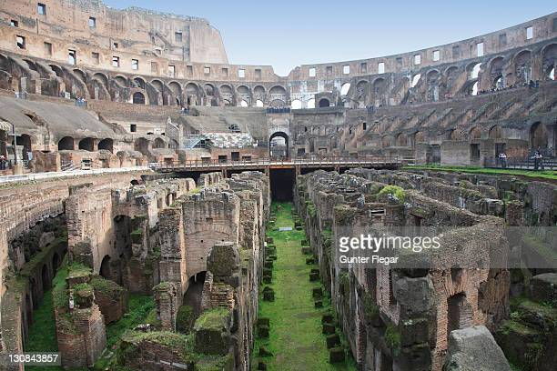 interior view of the colosseum with the basement, rom, italy - inside the roman colosseum stock photos and pictures