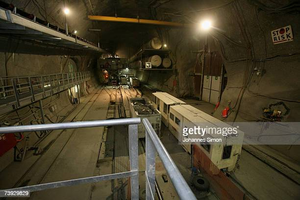 Interior view of the construction site for the Gotthard Base Tunnel on April 19 2007 near Sedrun Switzerland Deep beneath the Alps the Swiss are...