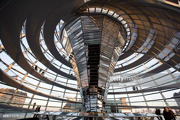Interior view of the dome on the Reichstag building on December 16 2013 in Berlin Germany