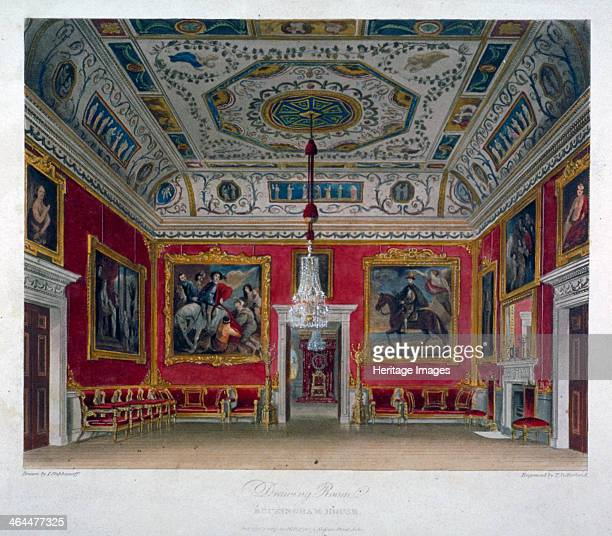 Interior view of the drawing room in Buckingham House Westminster London 1817 Buckingham House was reconstructed as Buckingham Palace in the 1820s