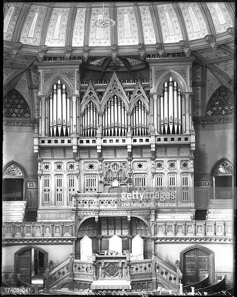 Interior view of the Fifth Avenue Presbyterian Church showing the church organ Fifth Avenue and 55th StreetNew York New York late 1900s