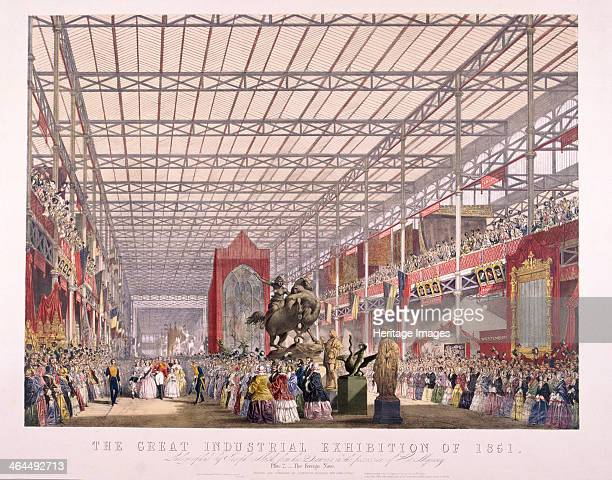 Interior view of the Foreign Nave in Crystal Palace during the Great Exhibition at Hyde Park London in 1851