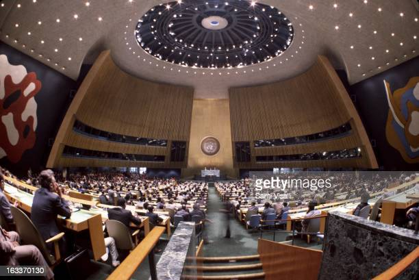 Interior view of the General Assembly room at the United Nations on September 18, 1985 in New York, New York.