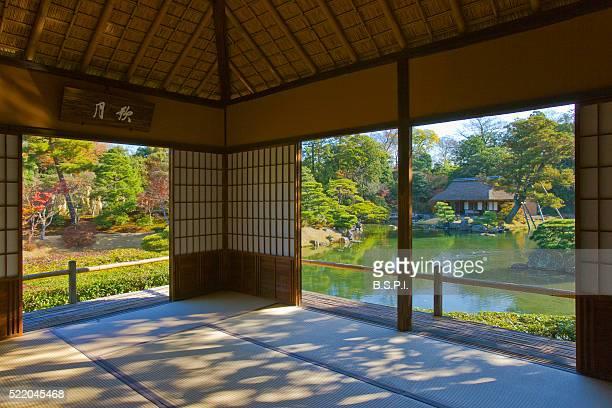 Interior view of the Geppa-ro tea pavilion