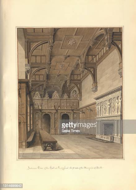 Interior View of the hall at Longleat; the Seat of the Marquis of Bath, John Buckler FSA, 1770–1851, British, and John Chessell Buckler, 1793–1894,...
